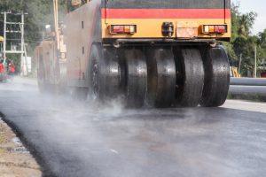 A large paving vehicle for asphalt