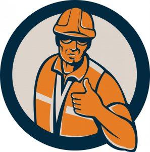 a cartoon of a worker